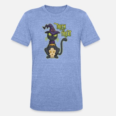 Witch Halloween Black Witch Cat Trick or Treat - Unisex Tri-Blend T-Shirt
