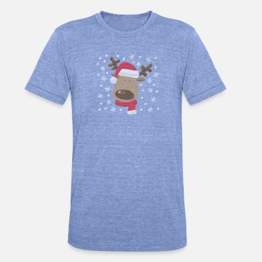 Reindeer Ugly Christmas Design. Super sweet. - Unisex Tri-Blend T-Shirt