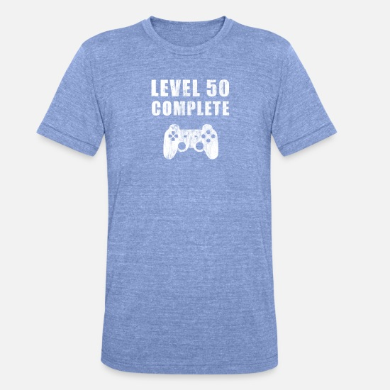 Birthday T-Shirts - 50th Birthday Level 50 Gamer Gaming Video Games PC - Unisex Tri-Blend T-Shirt heather blue
