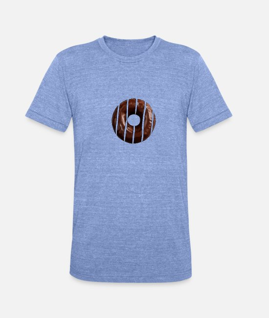 Donut T-Shirts - Chocolate donut - Unisex Tri-Blend T-Shirt heather blue