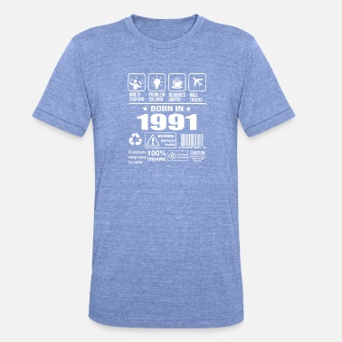 1991 Geboren in 1991 - Unisex tri-blend T-shirt van Bella + Canvas