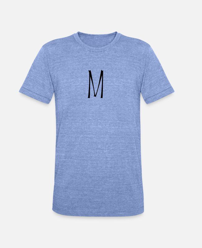 Alphabet T-Shirts - initial M - Unisex Tri-Blend T-Shirt heather blue