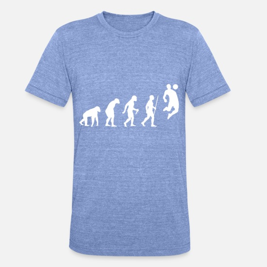 Soccer T-shirts - Evolution humaine footballer - T-shirt chiné unisexe bleu chiné