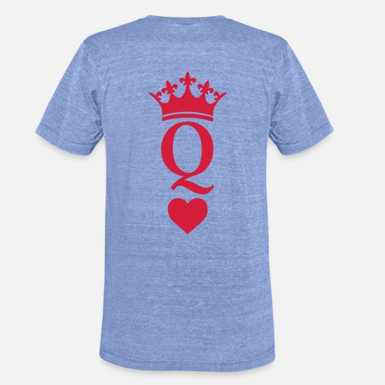 Couple T-shirts - QUEEN CROWN HEART - T-shirt chiné unisexe bleu chiné