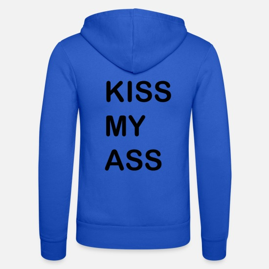 My Bluzy - KISS MY ASS - Bluza rozpinana z kapturem unisex niebieski royal
