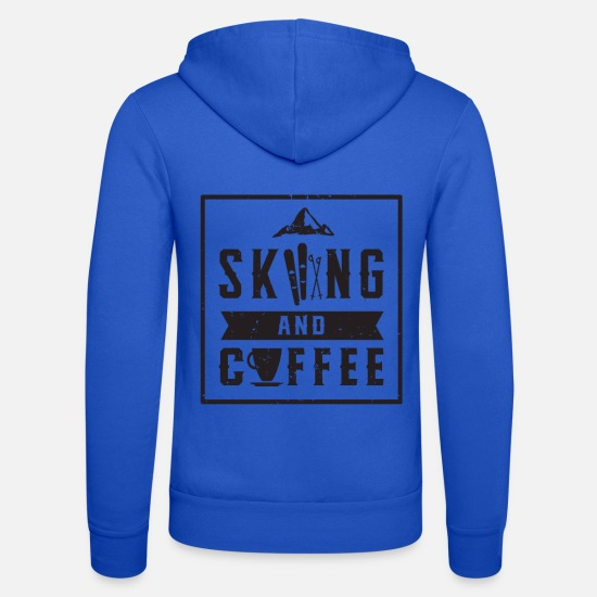 Winter Hoodies & Sweatshirts - Skiing coffee winter sports skis snow winter - Unisex Zip Hoodie royal blue