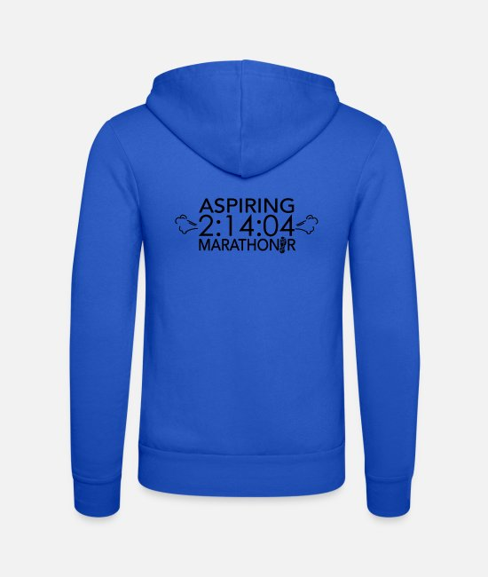 Runner Hoodies & Sweatshirts - Aspiring 2:14:04 Marathoner - Motivational - Unisex Zip Hoodie royal blue