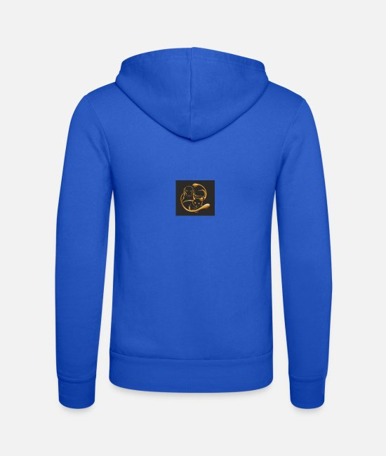 Gold Hoodies & Sweatshirts - gold, dog and cat - Unisex Zip Hoodie royal blue