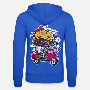 Comic ROLLER BURGER - Cartoon Comic Figure Shirt Motif - Unisex Zip Hoodie