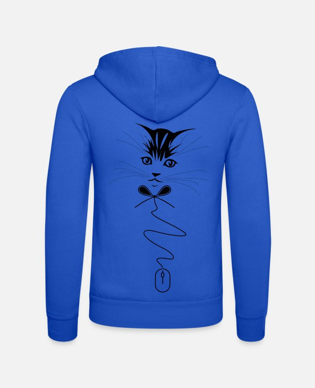 Ratto Felpe - Cat, papillon and mouse - Felpa con zip unisex blu royal