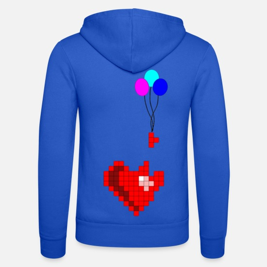 Love Hoodies & Sweatshirts - Pixel with heart - Unisex Zip Hoodie royal blue