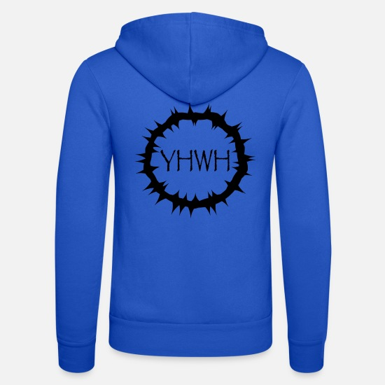 "Religious Hoodies & Sweatshirts - Crown of thorns with ""YHWH"" in the middle - Unisex Zip Hoodie royal blue"