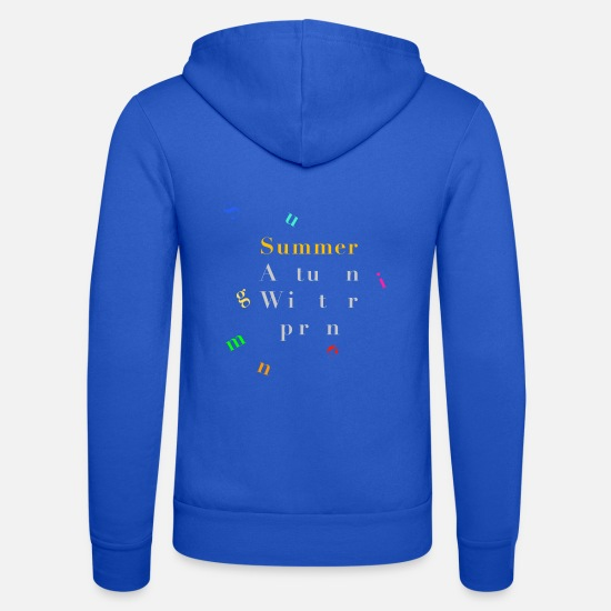 Typography Hoodies & Sweatshirts - Summer - Seasons - Poster - Unisex Zip Hoodie royal blue