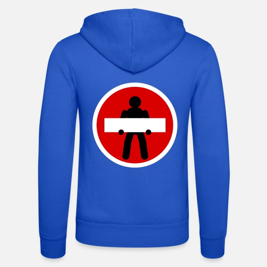 Stick Figure Hoodies & Sweatshirts - Prohibition sign - Unisex Zip Hoodie royal blue