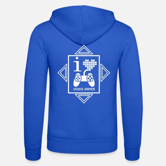 S'aimer Sweat-shirts - J'AIME LES JEUX VIDEO devise coller coller - Veste à capuche unisexe bleu royal