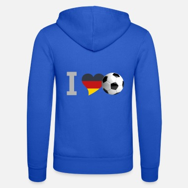 Vuvuzela calcio germania i Love Soccer heart fan tedesco - Felpa con zip unisex