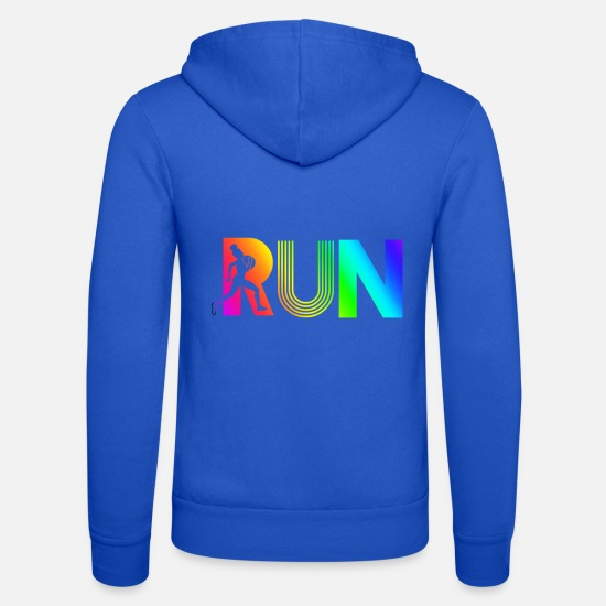 Run Hoodies & Sweatshirts - run rainbow running athletic - Unisex Zip Hoodie royal blue