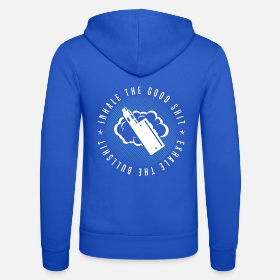 Humour Hoodies & Sweatshirts - Inhale The Good Shit - Exhale The Bullshit - Unisex Zip Hoodie royal blue