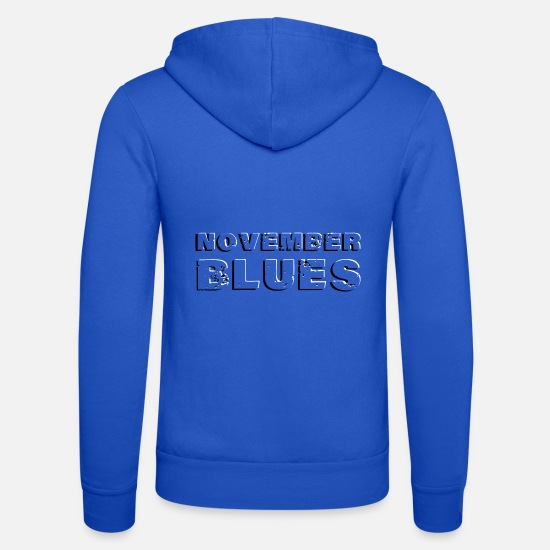 Depresso Felpe - November blues NOVEMBER BLUES in rilievo - Felpa con zip unisex blu royal