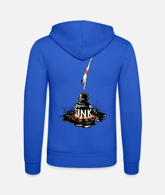Drawing Hoodies & Sweatshirts - Strange Ink PIT © - Ink drawing by JM. Baccino - Unisex Zip Hoodie royal blue