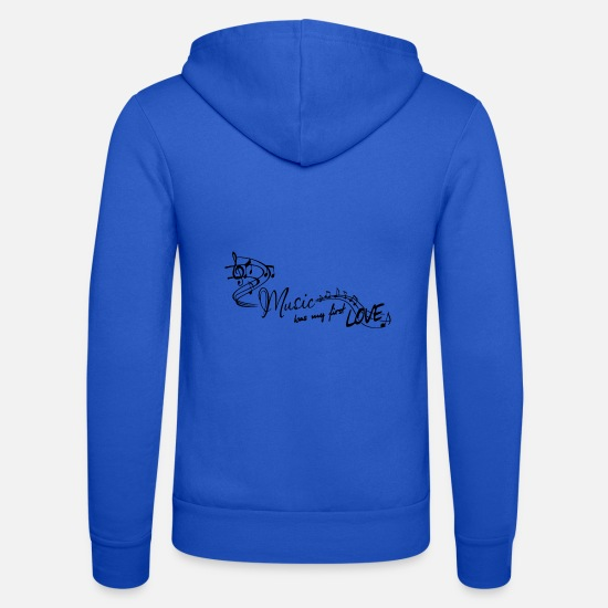 Love Hoodies & Sweatshirts - Music was my first love melody pop music - Unisex Zip Hoodie royal blue