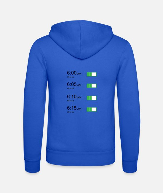 Stand Up Hoodies & Sweatshirts - Alarm clock Snooze button - Unisex Zip Hoodie royal blue