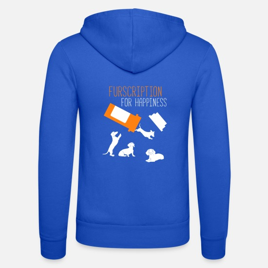 Pet Hoodies & Sweatshirts - Furscription For Happiness Funny Dachshund Wiener - Unisex Zip Hoodie royal blue