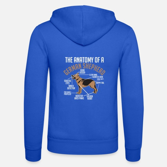 Shepherd Hoodies & Sweatshirts - The Anatomy Of A German Shepherd - Unisex Zip Hoodie royal blue