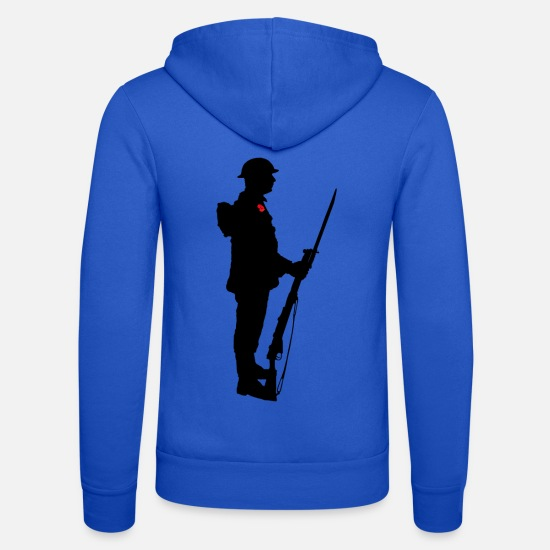 Remembrance Hoodies & Sweatshirts - Remembrance Day Soldier WW1 - Unisex Zip Hoodie royal blue