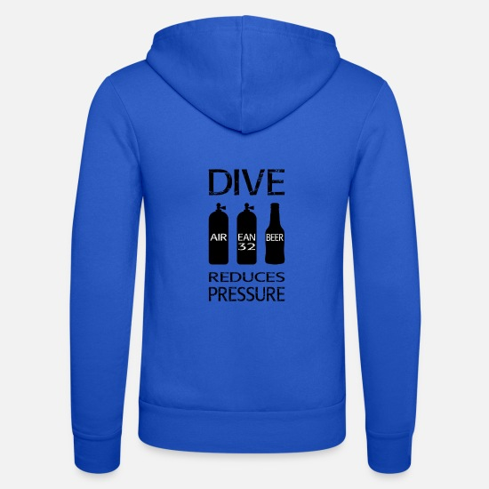Aquatics Hoodies & Sweatshirts - Diving reduces pressure - Unisex Zip Hoodie royal blue