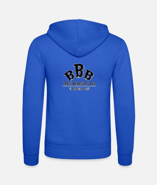 BBQ Hoodies & Sweatshirts - Blues Barbecue Bar Beer Meat Barbecue Grill Chef - Unisex Zip Hoodie royal blue