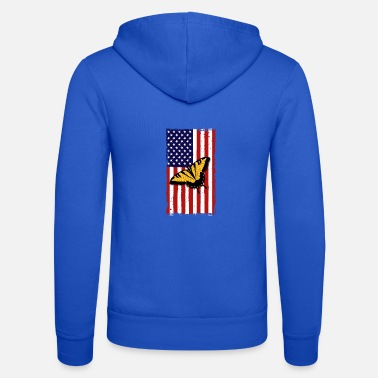 Peacock Butterfly America Flag Independence Day - Unisex Zip Hoodie
