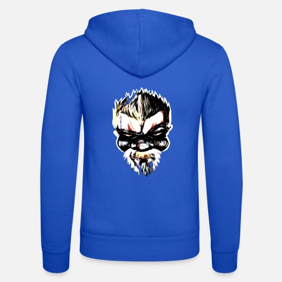 Gangster Hoodies & Sweatshirts - Badass Streetart Comic Boss - Unisex Zip Hoodie royal blue