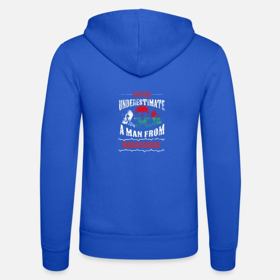 Love Hoodies & Sweatshirts - never underestimate man MADAGASCAR - Unisex Zip Hoodie royal blue