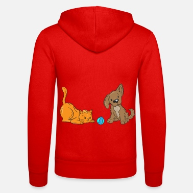 Playing cat with dog and - Unisex Zip Hoodie