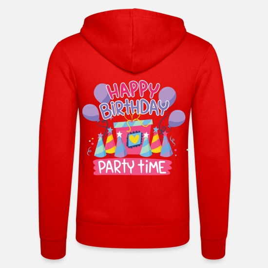 Birthday Hoodies & Sweatshirts - Birthday Birthday Party - Unisex Zip Hoodie classic red