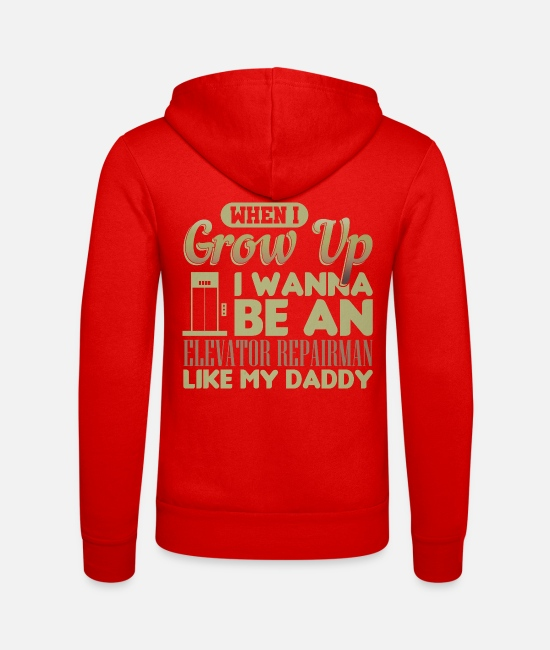 Father's Day Hoodies & Sweatshirts - Father Elevator Repairman Wanna Be Elevator - Unisex Zip Hoodie classic red