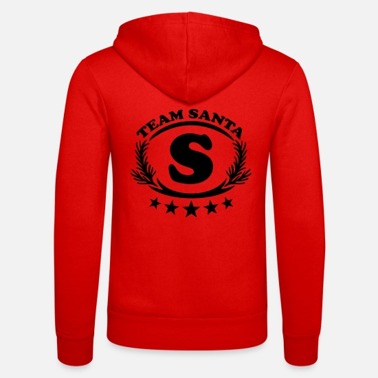 Miscellaneous Hoodies & Sweatshirts - Team Santa, 5 stars, wreath, Super Claus, cristmas - Unisex Zip Hoodie classic red