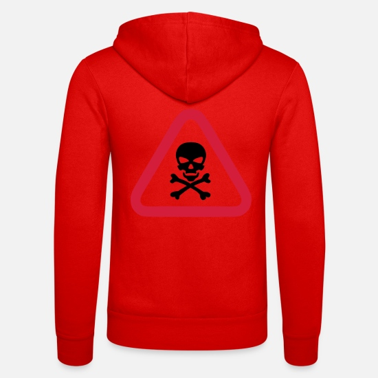 Skull Hoodies & Sweatshirts - skull danger triangle panel 280) - Unisex Zip Hoodie classic red