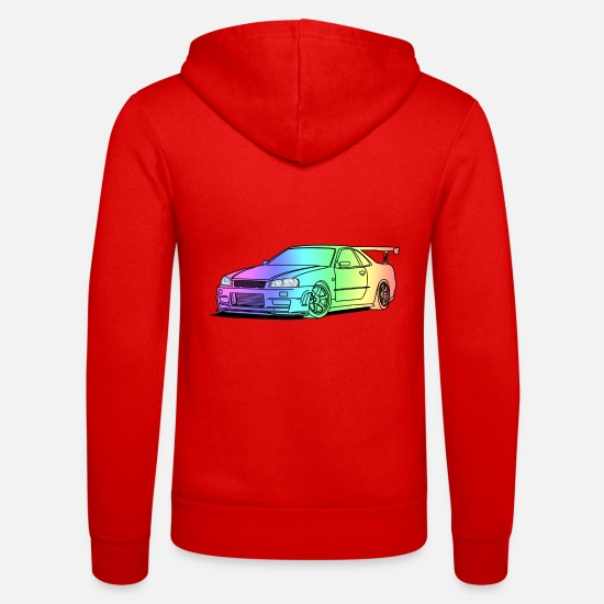 Car Hoodies & Sweatshirts - colourful car - Unisex Zip Hoodie classic red