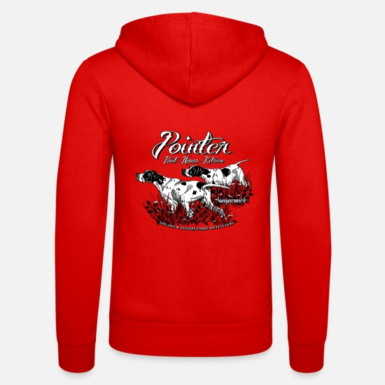 Pointer Hoodies & Sweatshirts - two_pointers_black_and_white - Unisex Zip Hoodie classic red