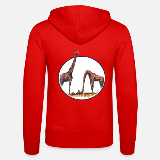 Let Go Hoodies & Sweatshirts - The emotional giraffe - Unisex Zip Hoodie classic red