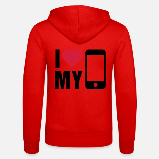 Mobile Hoodies & Sweatshirts - Love mobile - Unisex Zip Hoodie classic red