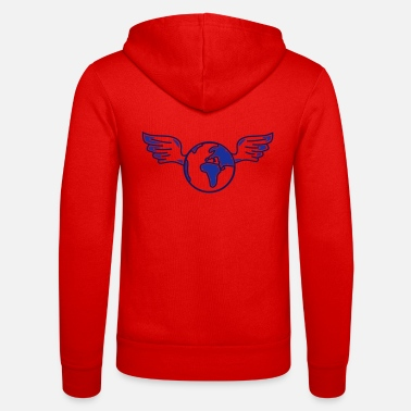 Milieubescherming earth with wings - Unisex zip hoodie