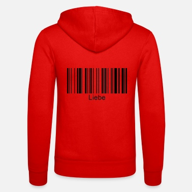 Love barcode with font - Unisex Zip Hoodie