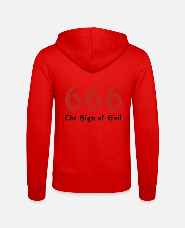 Devil Hoodies & Sweatshirts - 666 - the number of the beast - Unisex Zip Hoodie classic red