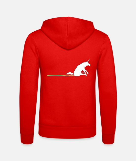 Unicorn Hoodies & Sweatshirts - Unibow - A Unicorn shitting out and a rainbow - Unisex Zip Hoodie classic red
