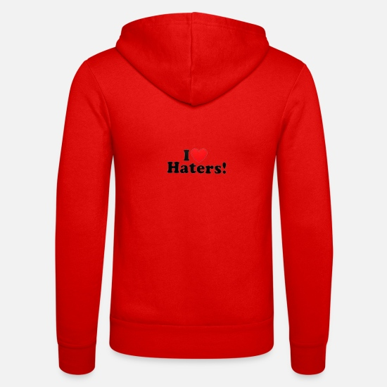 Love Hoodies & Sweatshirts - I LOVE HATERS - Unisex Zip Hoodie classic red