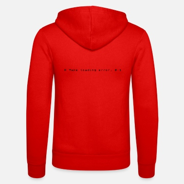 Tape R Tape Loading Error - ZX Spectrum Error Message - Unisex Zip Hoodie