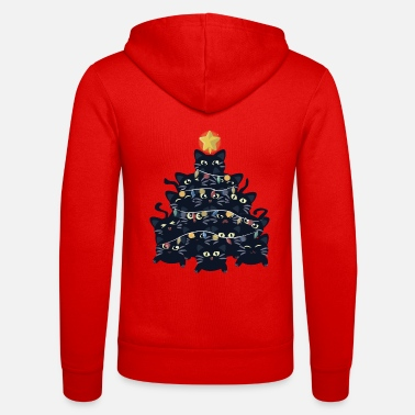 Luck Christmas tree made of black cats - Unisex Zip Hoodie